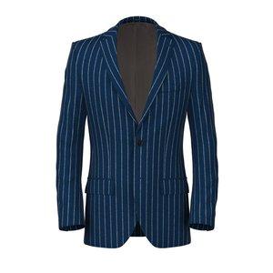 Giacca Gessata Blu Lana Seta Lino Tessuto prodotto da  Lanificio Ermenegildo Zegna