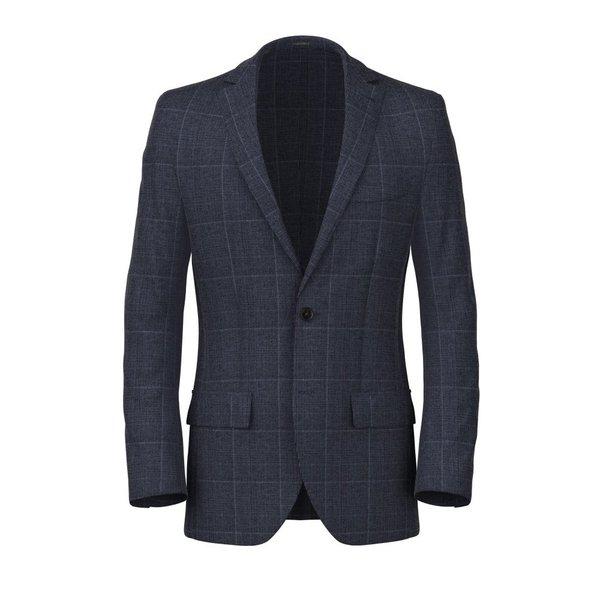 Blazer Blu Principe di Galles Lino Seta Tessuto prodotto da  Lanificio Ermenegildo Zegna