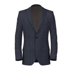 Giacca Blu Principe di Galles Lino Seta Tessuto prodotto da  Lanificio Ermenegildo Zegna