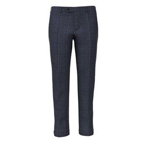 Pantaloni Blu Principe di Galles Lino Seta Tessuto prodotto da  Lanificio Ermenegildo Zegna