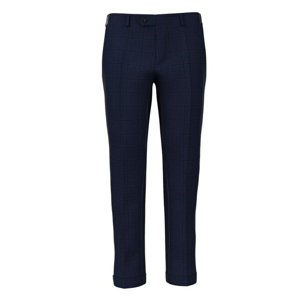 Pantaloni Natural Stretch Blu Finestrati Tessuto prodotto da  Lanificio Zignone