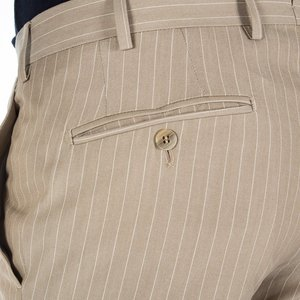 Pantaloni chino Beige a Righe Tessuto prodotto da  Lanificio Subalpino