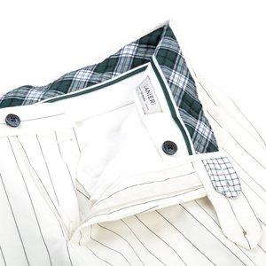 Pantaloni chino Bianchi a Righe Tessuto prodotto da  Lanificio Subalpino