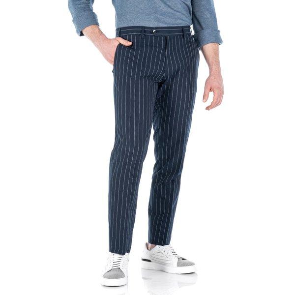 Pantaloni chino Blu a Righe Tessuto prodotto da  Lanificio Subalpino