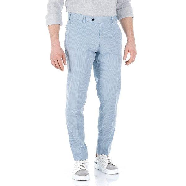 Pantaloni chino Righe Azzurre Tessuto prodotto da  Lanificio Subalpino