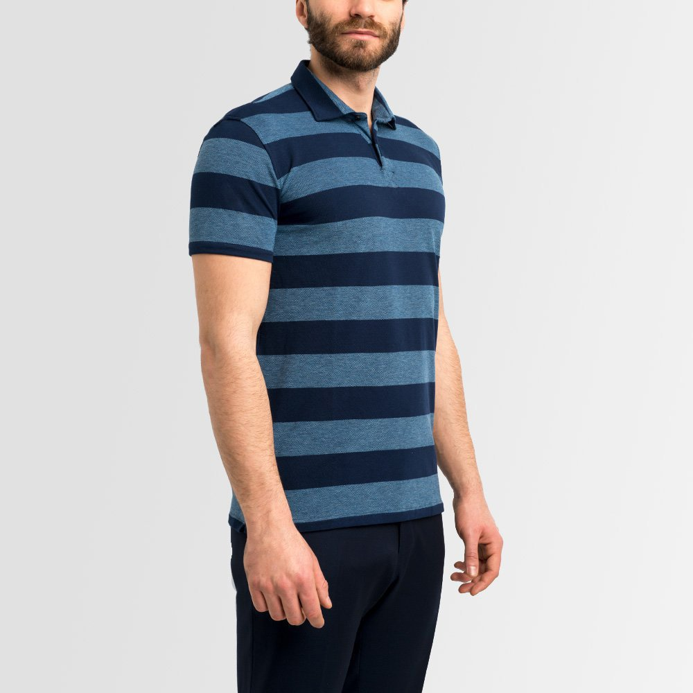 Stripe Blue Polo Shirt Long Sleeve Short Sleeve Lanieri