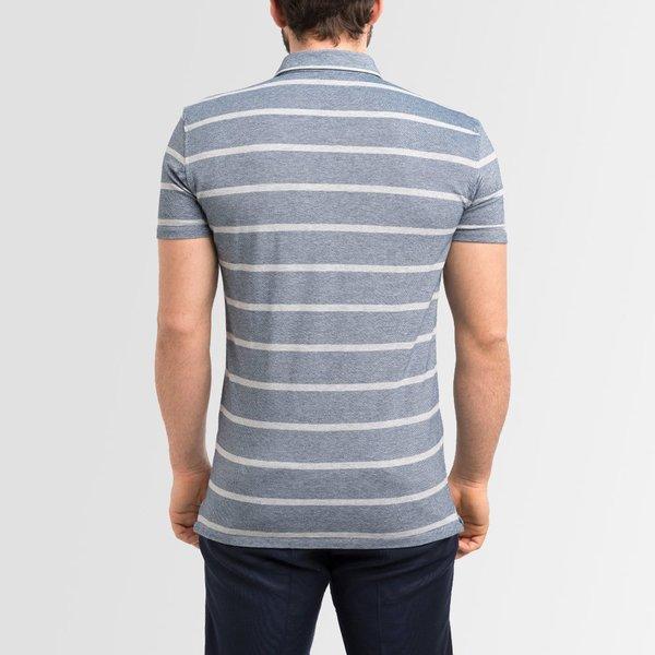 polo homme sur mesure bleu ciel rayures manches longues et manches courtes lanieri. Black Bedroom Furniture Sets. Home Design Ideas