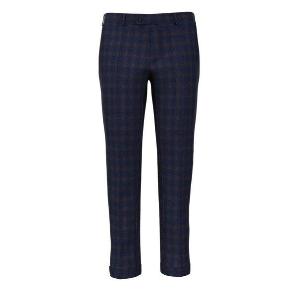 Pantaloni Blu Marroni Finestrati Tessuto prodotto da  Carlo Barbera