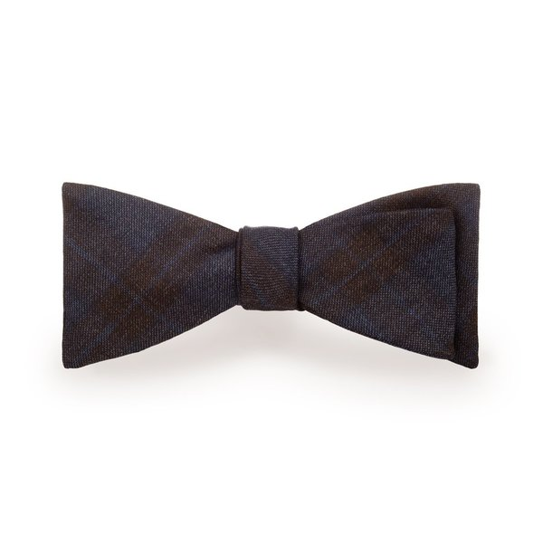 blue brown checked men s bow tie in 100 wool lanieri