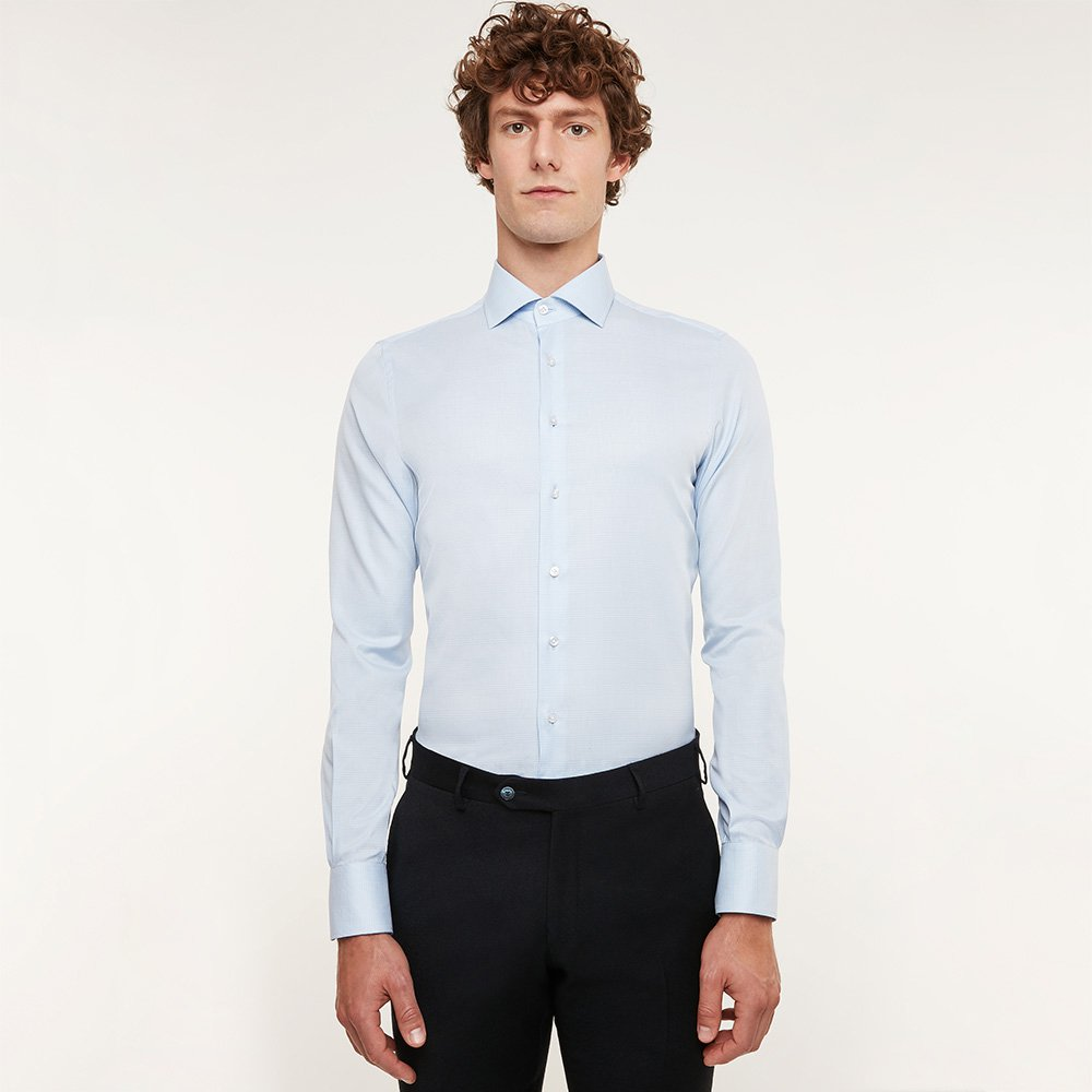Image of Camicia da uomo su misura, Ibieffe, Azzurra Principe di Galles, Quattro Stagioni