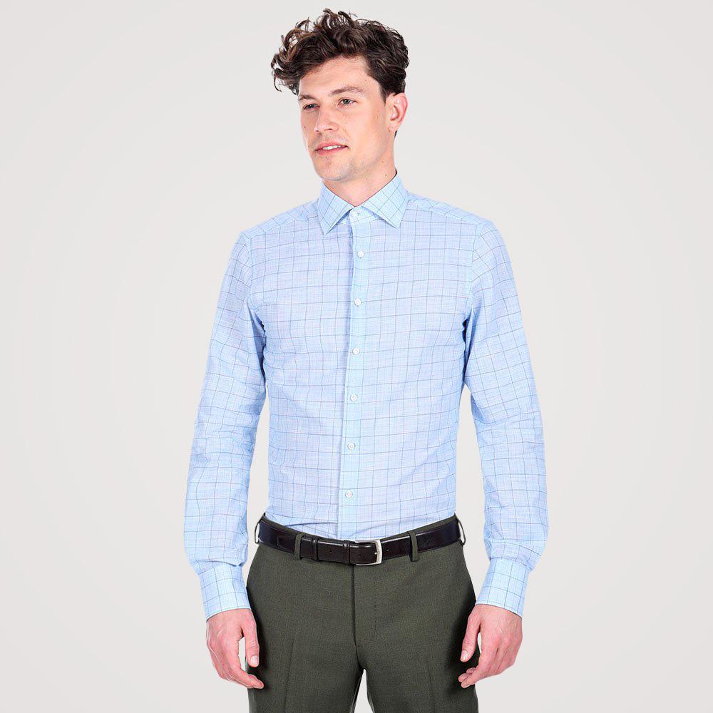 Image of Camicia da uomo su misura, Albini, Azzurra Principe di Galles, Primavera Estate   Lanieri